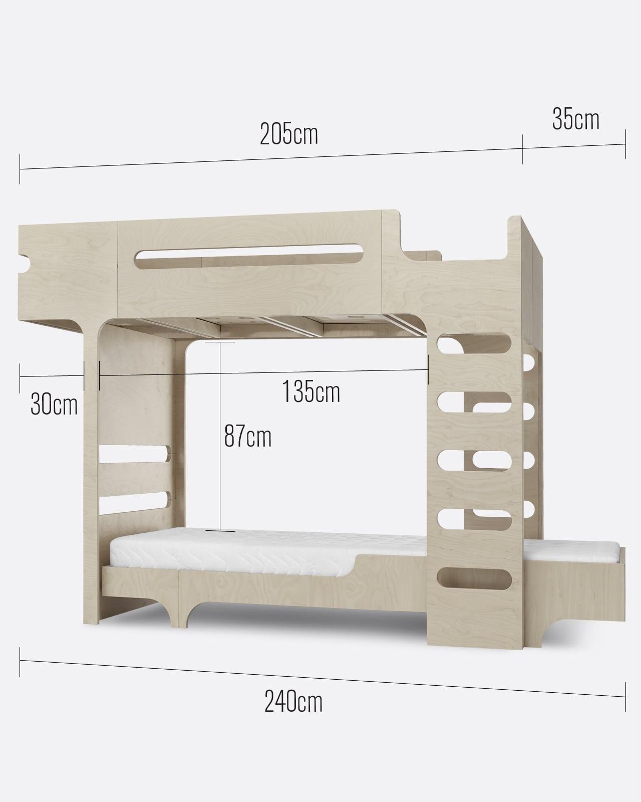 F A75 Bunk Bed For 2 Children Designer Furniture Rafa Kids