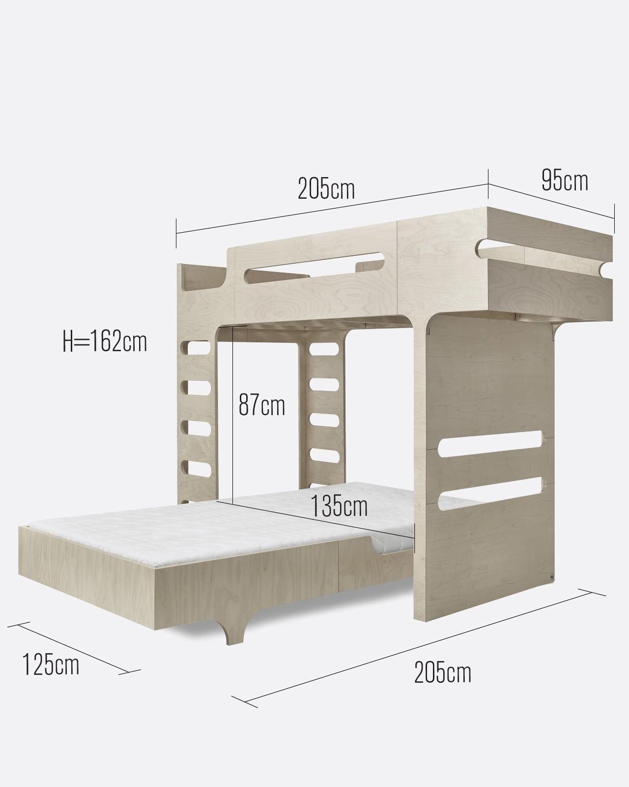 F A120 Bunk Bed For 2 Children Designer Furniture Rafa Kids