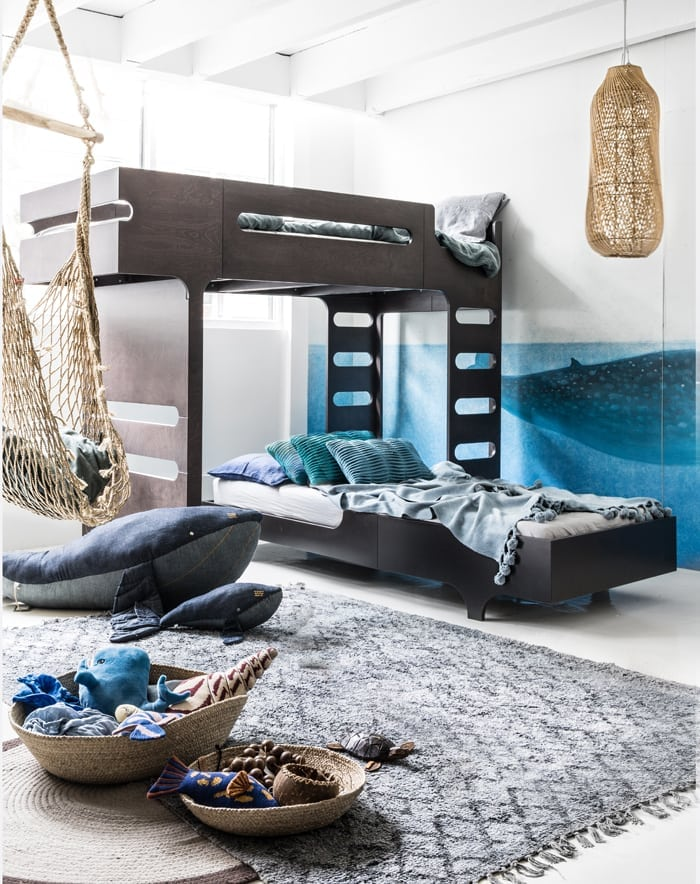 Children room with sea theme with modern furniture