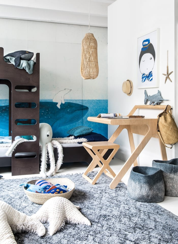 Sea theme children room with working corner