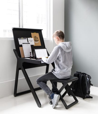 Rafa-kids black K desk with teenage boy